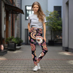 Donut Designed Black Yoga Leggings