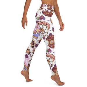Donut Designed White Yoga Leggings