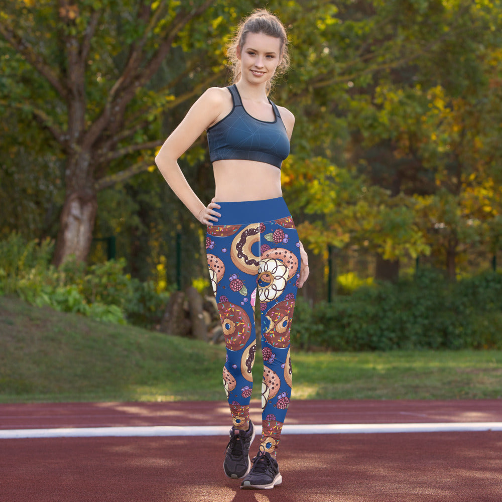 Donut Designed Blue Yoga Leggings