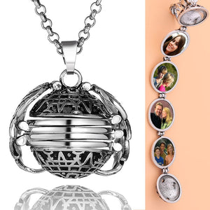 Angel Wings Locket Necklace Memory Photo Pendant Jewelry