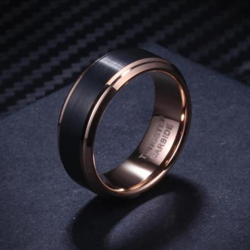 Black & Rose Gold Tungsten Carbide Men's Wedding Ring Bands