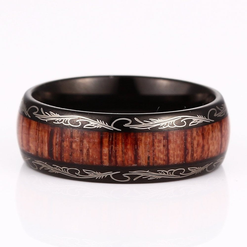 Black Tungsten Carbide With Koa Wood Inlay Men's Bands Ring Jewelry