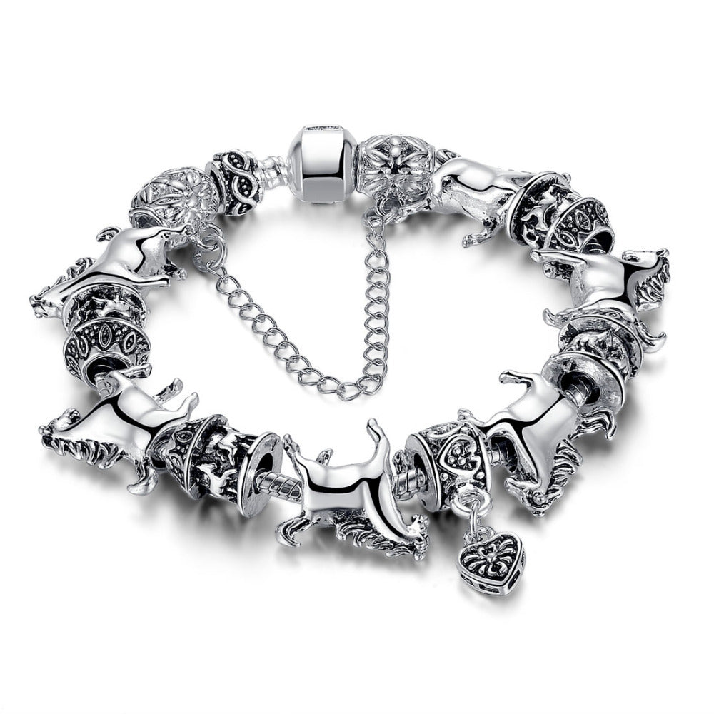 Silver Horse Charm Bracelets -50% OFF!