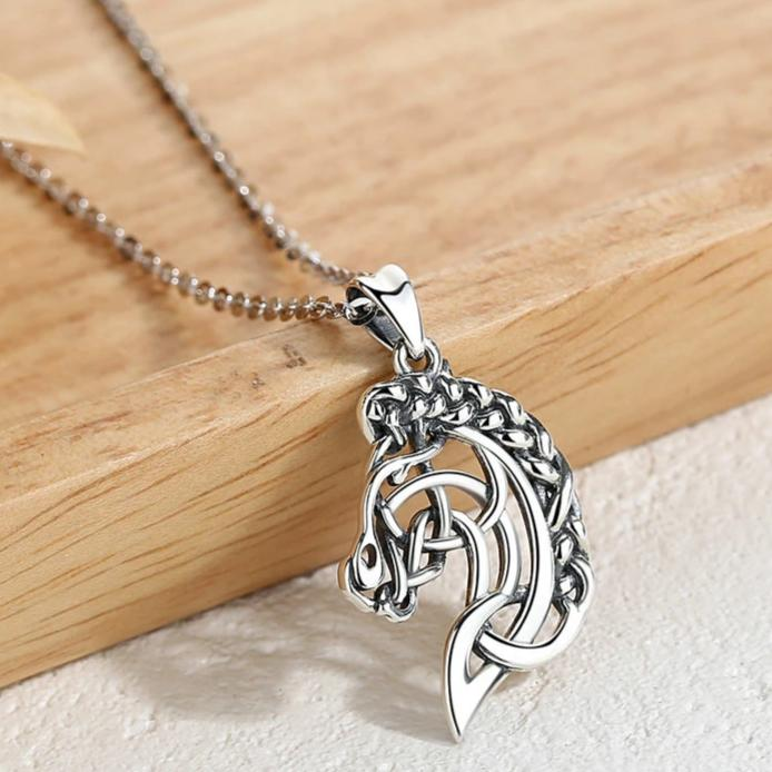 Celtics Knot Spirit Horse Head Pendant Necklace Equestrian Jewelry
