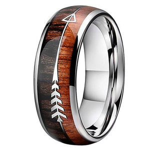 Arrow Inlay Men and Women Personalized Wedding Band Ring - Natural Koa Wood and Tungsten Carbide