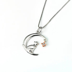 Cat & Moon Pendant Necklace