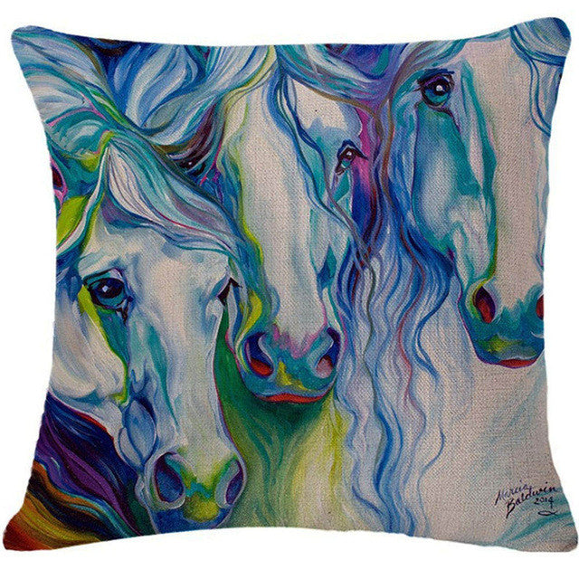 Horse & Rooster Throw Pillowcase