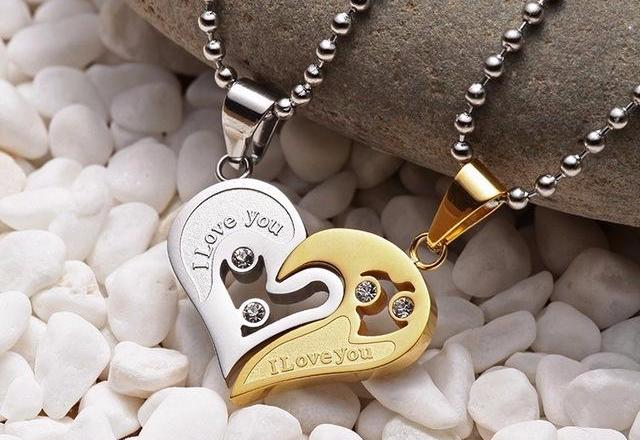 Couples Matching Heart Pendant Necklaces