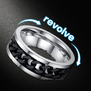 Stainless Steel Chain Spinner With Roman Number Men's Ring