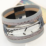 Feather Leaf Leather Wristband Bracelets -Giveaway