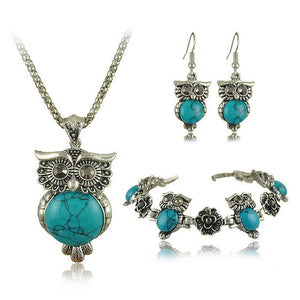 Tibetan Vintage Silver Owl Jewelry Set -SALE! 50% OFF