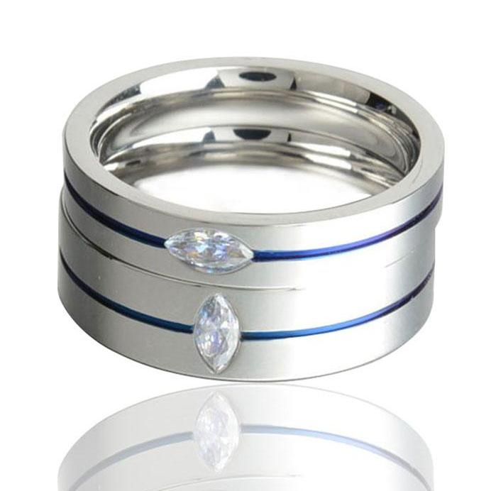 Blue Line Titanium Ring