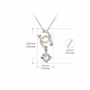 Two Tone Double Horseshoe Pendant Necklace Fashion Jewelry