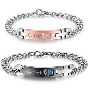 His Doe & her Buck Personalized Couples Bracelets Matching