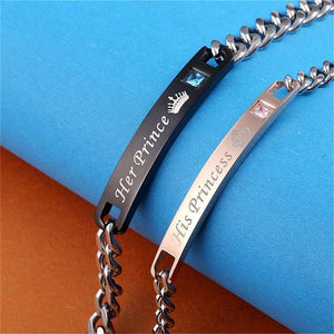 Her King & His Queen Personalized Couples Bracelets Matching