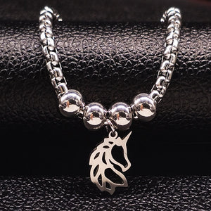 Unicorn Stainless Steel Charm Bracelet