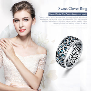 100% 925 Sterling Silver Clover Blue CZ Rings
