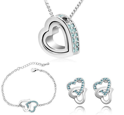 Double Heart Jewelry Set