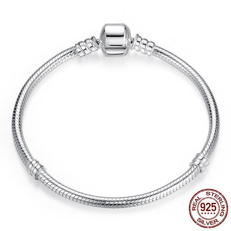 Luxury 100% 925 Sterling Silver Charm Chain Bracelet