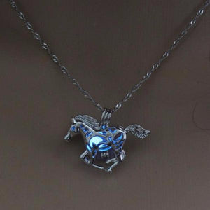 Glow In The Dark Horse Pendant Necklace - 70% OFF