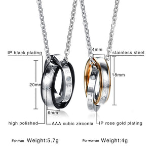 "Interlocked "" Real Love"" Ring Couple Necklace - Buy One Get One FREE!"