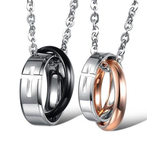 Couples Cross Ring Pendant Necklaces