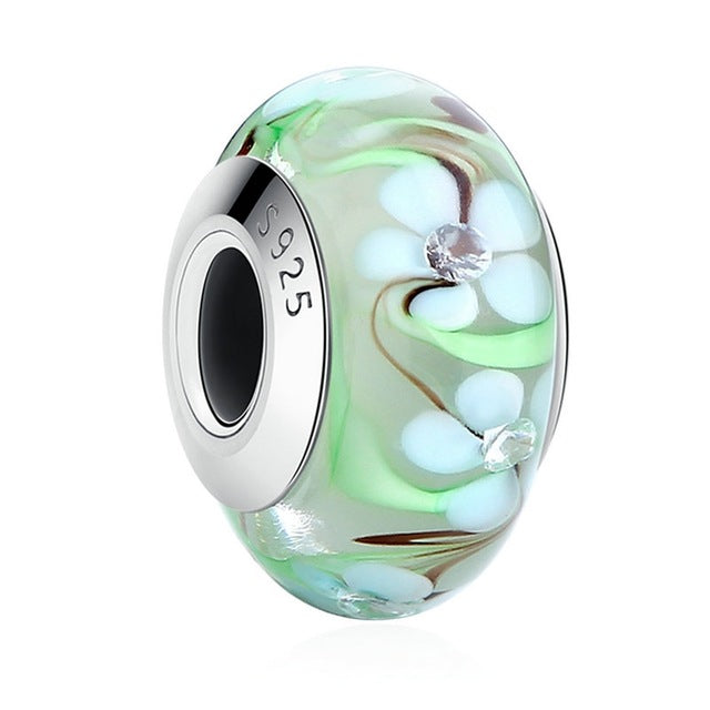 Authentic 925 Sterling Silver Effervescence Murano Glass Charm Beads