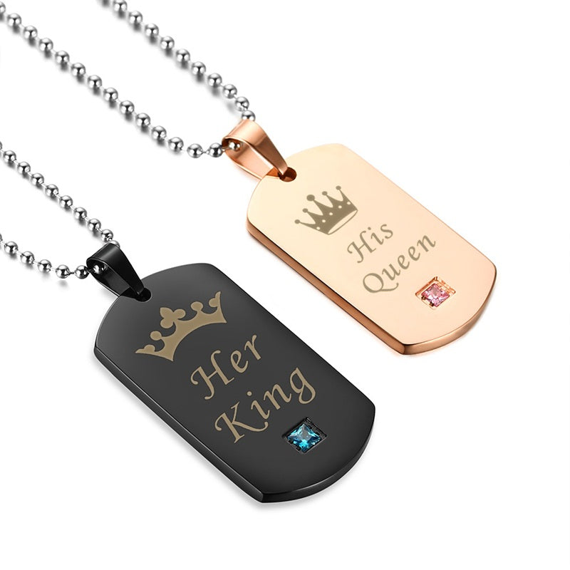 Pair of Couple Tag Necklace - BOGO