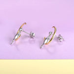 Sterling Silver Cat Sitting On A Crescent Moon Stud Earrings