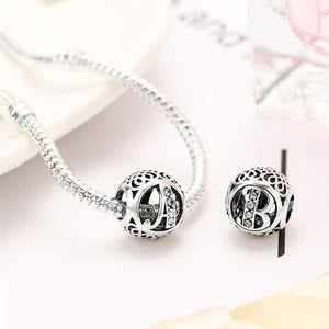 925 Silver Letter Charm Beads