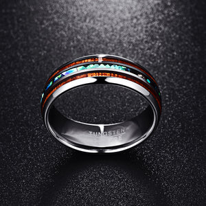 Hawaiian Koa Wood & Abalone Shell Tungsten Carbide Men's Wedding Ring Bands