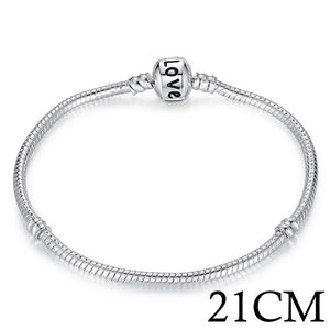 Silver Snake Chain Bracelet For Charms