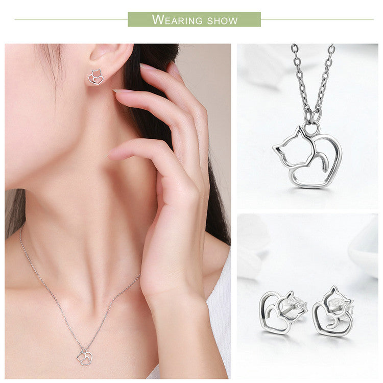 925 Sterling Silver Little Cat & Heart Necklace And Earrings Jewelry Set