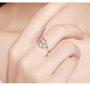 Authentic 100% 925 Sterling Silver Little Cat & Heart Ring