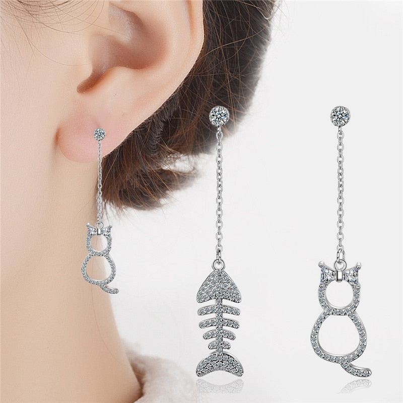 925 Sterling Silver And Cubic Zircon Cat and Fish Stud Earring Set