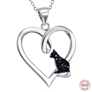 Black Crystal Cat Heart Necklace