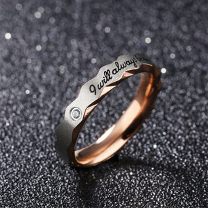 """I will always be with you"" Couples Ring"