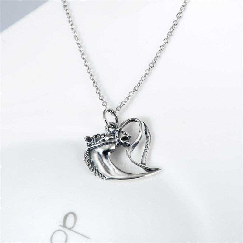 Antique Silver Horse Head  Pendants Necklaces Fashion Jewelry