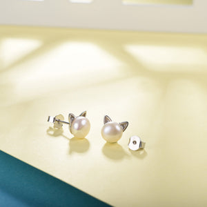 Genuine 925 Sterling Silver And Freshwater Pearl Cute Kitty Cat Earrings, Ring, And Necklace Set