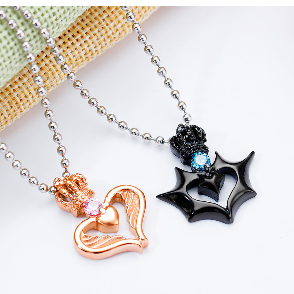 Crown And Heart Pendant Couples Necklaces