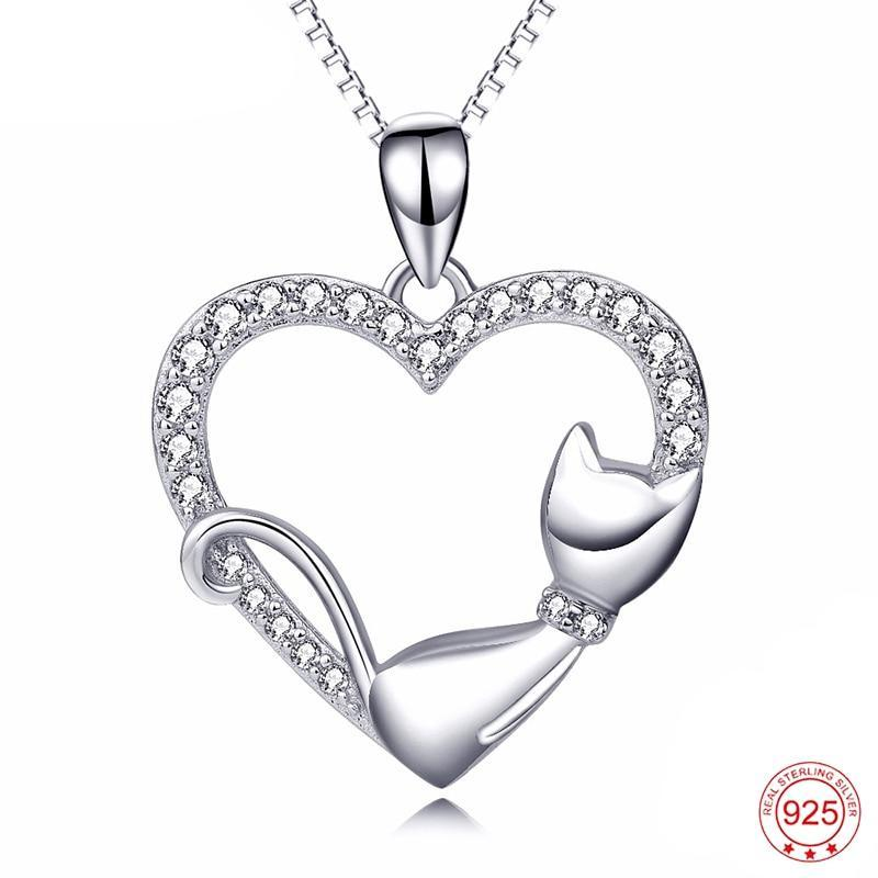 Lazy Cat Love Heart Pendant Necklace