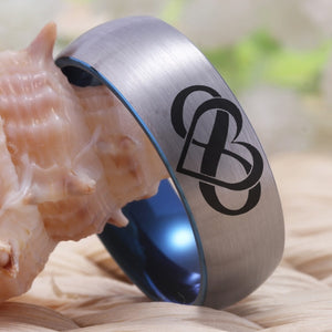 Silver Blue Tungsten Masonic Couples Ring With Infinity Heart & Always & Forever Symbol