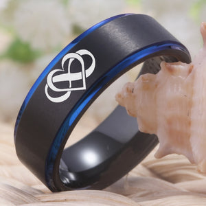 Black And Blue Tungsten Couples Ring With Infinity Heart & Always & Forever Symbol