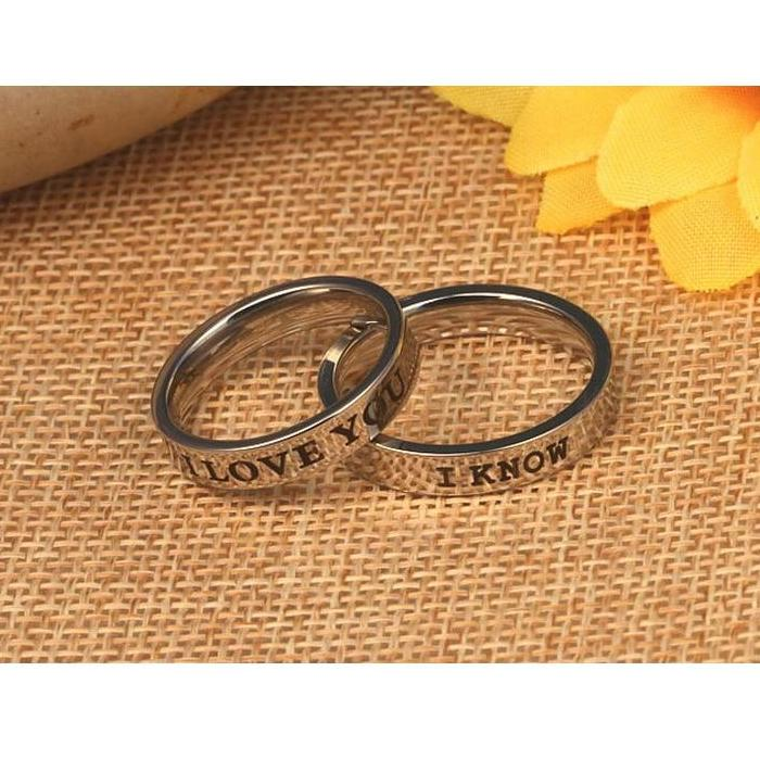 """I love you, I know"" Titanium Steel Couples Ring"