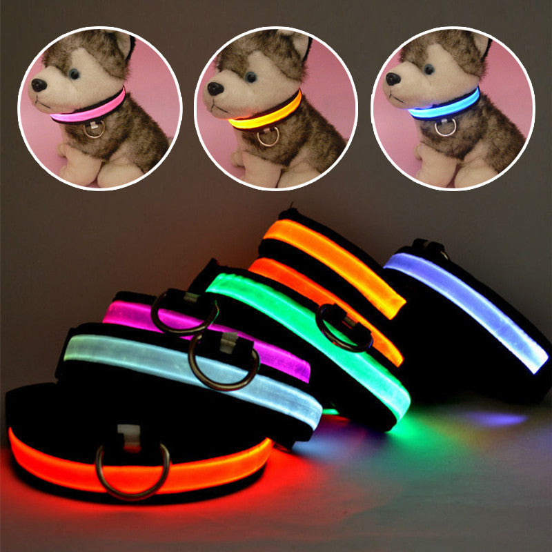 LED Nylon Night Safety Collar For Dogs & Cats