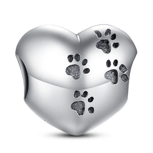 Authentic 925 Sterling Silver Paws on Heart Charm Beads