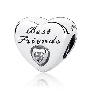 Authentic 925 Sterling Silver Heart Charm Beads