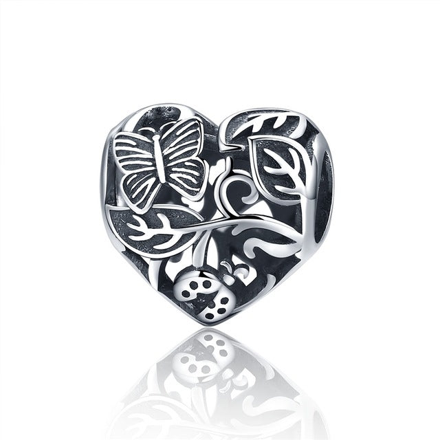 Authentic 925 Sterling Silver Floral Heart Charm Beads