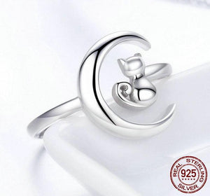 Authentic 925 Sterling Silver Moon Cat Adjustable Rings