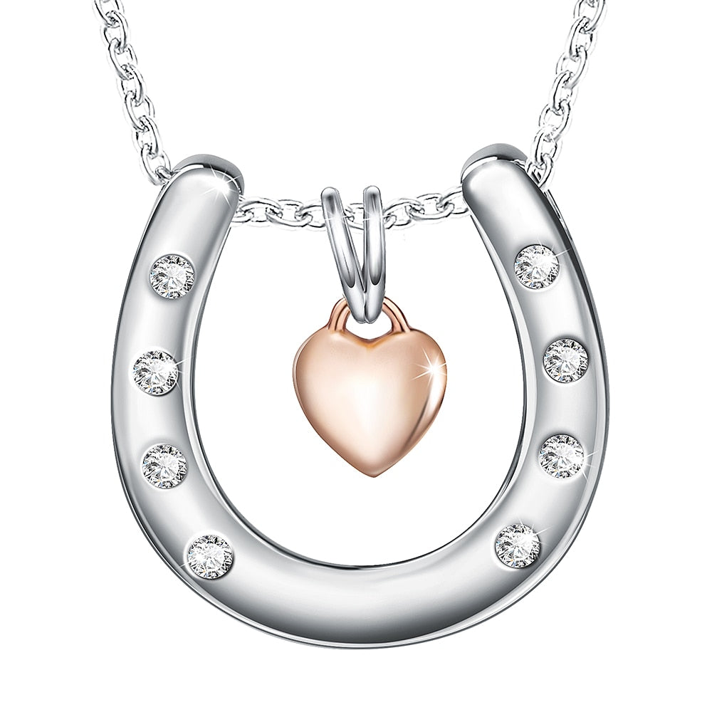 """Love U"" Horseshoe Pendant Necklace"